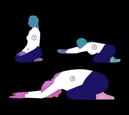 Posizione Yoga Balasana (posizione del bambino)