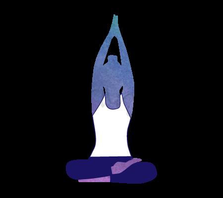 Posizione Yoga Parvatasana (posizione della montagna)