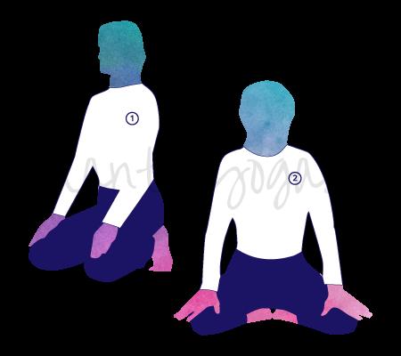 Posizione Yoga Simhasana (posizione del leone)