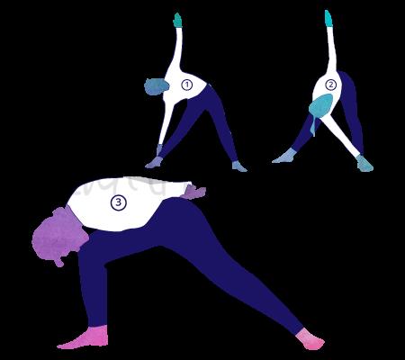 Trikonasana ( posizione del triangolo), variante 1